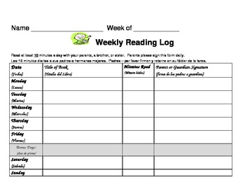 Weekly Book Log