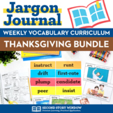 Weekly Interactive Vocabulary Notebook Unit Thanksgiving Bundle