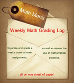 Weekly Math Grading Log (Weekly Math Menu)