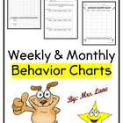 Weekly & Monthly Behavior Charts (Behavior Management Tools)