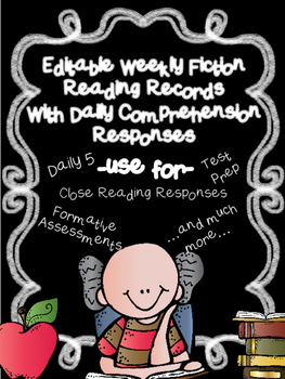 Editable Weekly Reading Records w/ Comprehension Writing Response Options(CCSS)