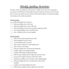 Weekly Spelling Activity Sheet 4