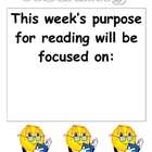 Week's Purpose for Reading chart
