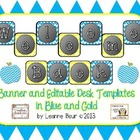 Welcome Back Editable Banner and Desk Templates Blue and Gold