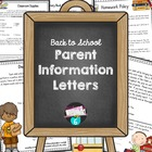 Welcome Back to School Letters for Parents
