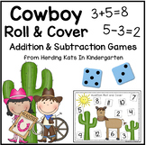 Western Cowboy Cowgirl Roll & Cover Addition & Subtraction Games!