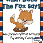 What Does the Fox Say an Onomatopoeia Activity