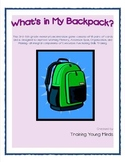 What's in My Backpack? Grades 3-5