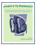 What's in My Backpack? Grades 6-8