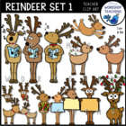Whimsical Reindeer Graphics Bundle (32 files) Whimsy Works