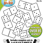 White Dominoes Clip Art — Full Set / Over 40 Graphics!