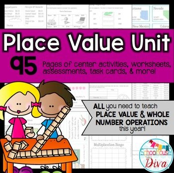 Place Value & Whole Numbers Unit - Common Core (3rd) & TEKS (3rd- 4th) Aligned