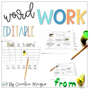 Wild About Word Work #2-Add Your Own Words Version