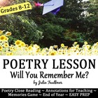 End of Year {Will You Remember Me?} Poetry and Memories Game