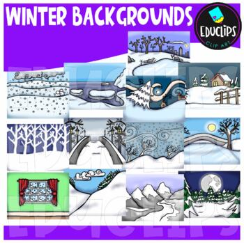 Winter Backgrounds Clip Art Bundle