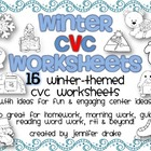 Winter CVC Worksheets! 15 Sheets for Fun Centers, Morning