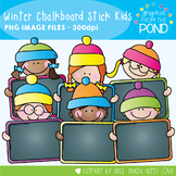 Winter Chalkboard Stick Kids Clipart