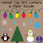 Winter Clip Art & Paper Bundle-Penguins, Snowmen, Snowflak
