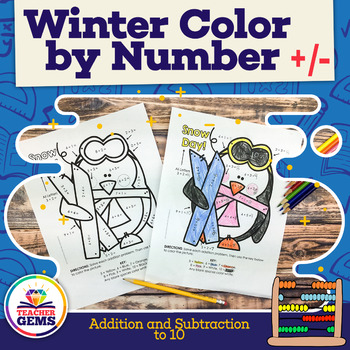 Winter Color by Number - Addition and Subtraction to 10