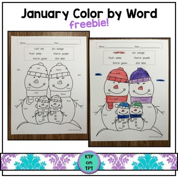 January Color by Word FREEBIE!