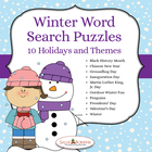 Winter Days 10 Themed Word Search Puzzles - Holidays and Events