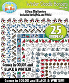 Winter Doodle Frame Borders Set  — Includes 25 Graphics!