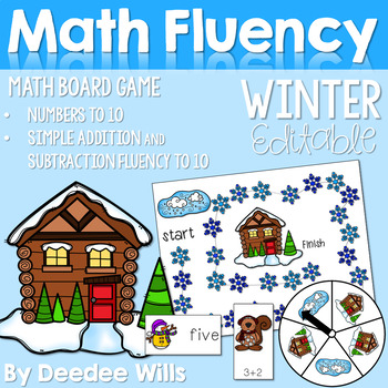 Winter Friends  Numbers 0-9, Addition and  Subtraction Board Game
