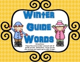Winter Guide Words Literacy Center  Dictionary Skills 50%