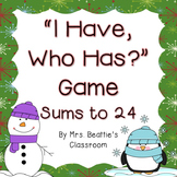 """Winter """"I Have, Who Has?"""" Card Game - Sums to 24 FREEBIE"""