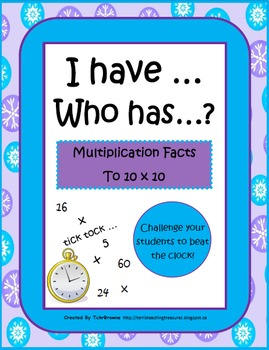 Winter I Have Who Has - Multiplication Facts to 10x10