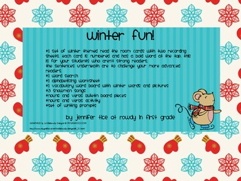 Winter Literacy Activities Packet