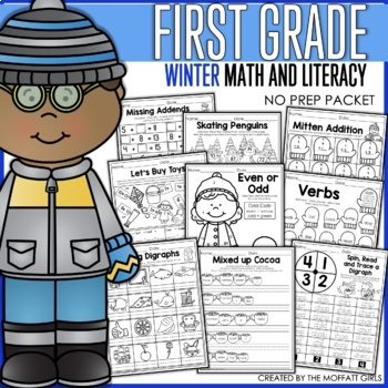 Winter Math and Literacy Packet NO PREP (1st Grade)