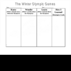 Winter Olympic Games KWL Chart
