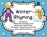 Winter Rhyming Literacy Center (with word cards) Stations