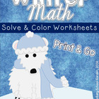Winter Solve & Color Math Worksheets (4th Grade Math CCLS)