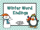 Winter Word Endings Literacy Center