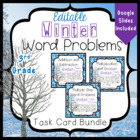 Winter Word Problems Task Card Bundle 3rd Grade Common Core