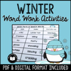 Winter Word Work Activity Packet