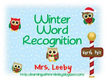 Winter (and Christmas) Word Recognition Freebie