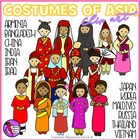 Costumes of Asia - Traditional Costume Clip Art (Color & B