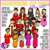 Costumes of Asia - Traditional Costume Clip Art - color an