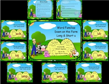 Word Families Down on the Farm Long & Short u  (SMARTBoard