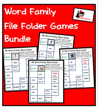 Word Family File Folder Game Packet - 41 Games