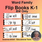 Word Family Flip Books - Grades K-1 (Black n White) RF.K.2a