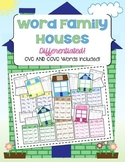 Word Family Houses - Differentiated with CVC and CCVC Words!