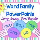 Word Family PowerPoints Long Vowels 5-in-1 Bundle  for K,
