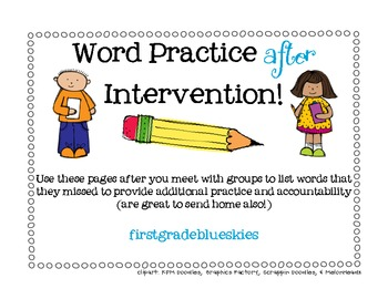 Word Practice for AFTER Intervention