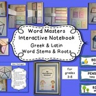 Word Stems and Roots Interactive Notebook Greek & Latin St