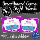 Word Value Game for Dolch 3rd Grade Words - Smartboard or