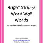 Word Wall Cards: 2nd 100 HFW in Bright Stripes
